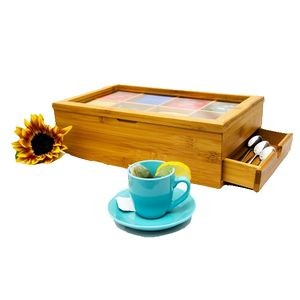 Bamboo Tea Box with Expandable Drawer